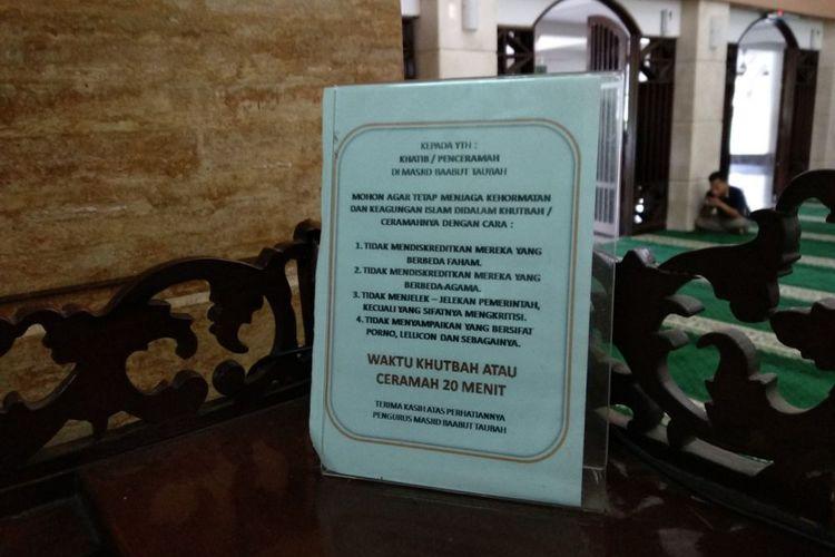 Toleransi di Mimbar Masjid Baabut Taubah